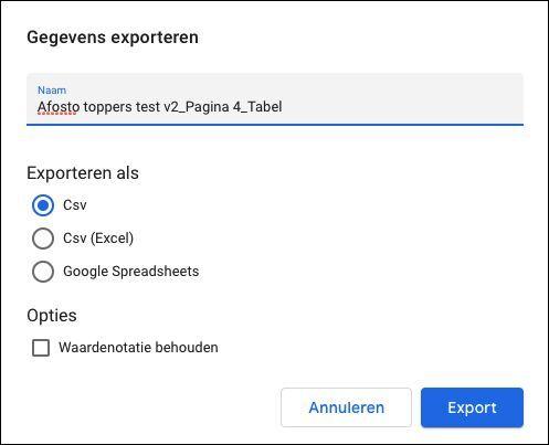 Exporteren gegevens Google Data Studio