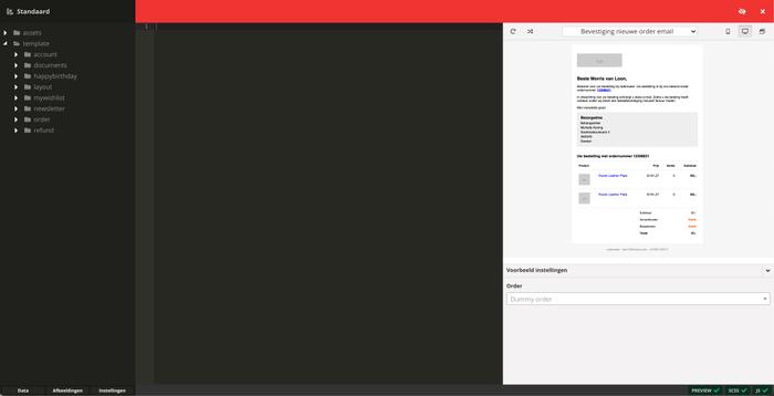 De template editor voor de berichtgeving van een webshop