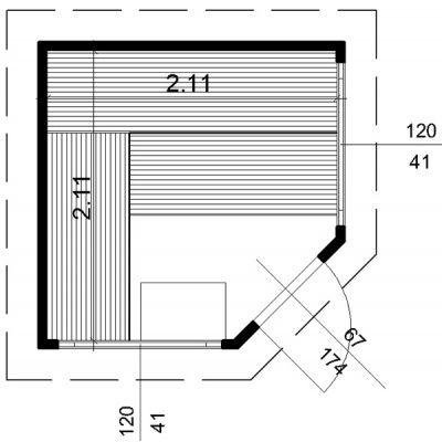 Afbeelding 64 van Azalp Buitensauna Katsoa 223x223 cm, 60 mm