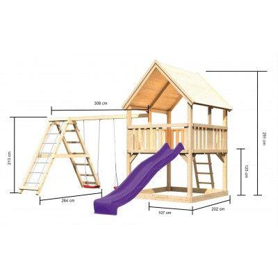 Afbeelding 2 van Akubi Speeltoren Luis met glijbaan, dubbele schommel en klimgedeelte (89377)