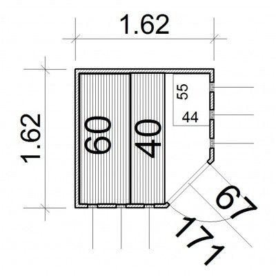 Afbeelding 9 van Azalp massieve hoeksauna Nurkka 162x162 cm, 40 mm