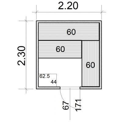 Afbeelding 2 van Azalp Massieve sauna Eva 220x230 cm, 45 mm