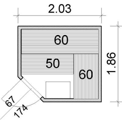 Afbeelding 3 van Azalp Elementhoeksauna 203x186 cm, espen