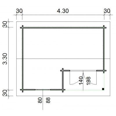 Bild 66 von Azalp Blockhaus Kinross 450x350 cm, 45 mm