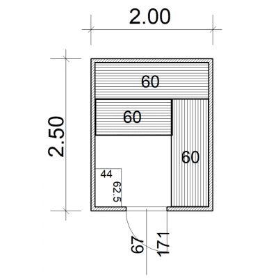 Afbeelding 2 van Azalp Massieve sauna Eva 200x250 cm, 45 mm
