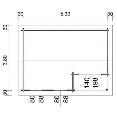 Bild 66 von Azalp Blockhaus Kinross 550x450 cm, 45 mm