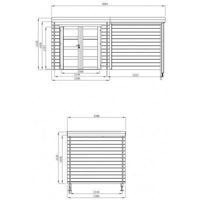 Afbeelding 2 van Debro Strasbourg met veranda 240 cm, Hoge druk geïmpregneerd