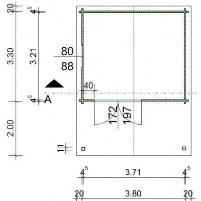 Bild 18 von Azalp Blockhaus Tim 400x350 cm, 45 mm