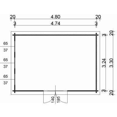 Bild 2 von Azalp Blockhaus Ingmar 500x350 cm, 30 mm