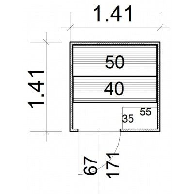 Afbeelding 5 van Azalp massieve sauna Rio Standaard 141x141 cm, 39 mm