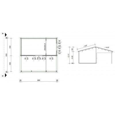 Bild 46 von Azalp Blockhaus Ben 650x700 cm, 60 mm