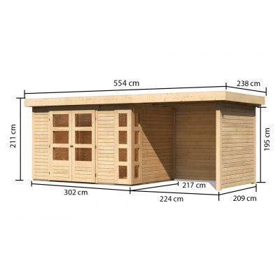Afbeelding 2 van Woodfeeling Kerko 4 met veranda 240 cm (82942)