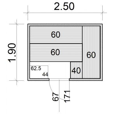 Afbeelding 2 van Azalp Massieve sauna Eva 250x190 cm, 45 mm