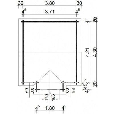 Afbeelding 12 van Azalp Blokhut Essex 400x450 cm, 45 mm