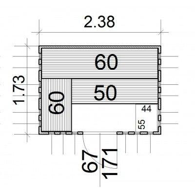 Afbeelding 14 van Azalp massieve sauna Alku 238x173 cm, 40 mm