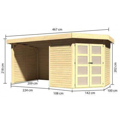 Afbeelding 2 van Karibu Goldendorf 3 met veranda 240 cm (78244)