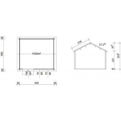 Bild 45 von Azalp Blockhaus Lynn 450x400 cm, 45 mm