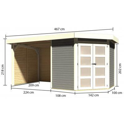 Afbeelding 2 van Karibu Goldendorf 3 met veranda 240 cm (78245)