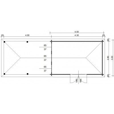 Afbeelding 23 van Azalp Blokhut Cas 840x300 cm, 45 mm