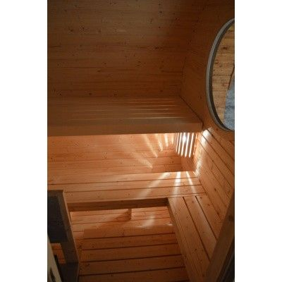 Bild 6 von Azalp Fasssauna Oval 402x240 cm, zwei Zimmer + Terrasse
