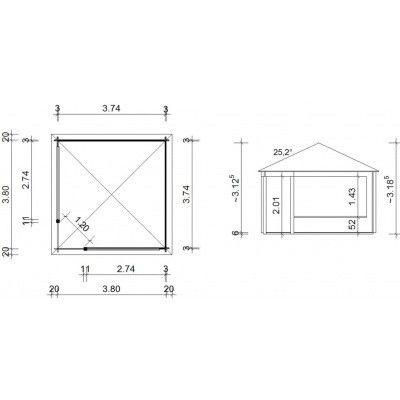 Afbeelding 9 van Azalp Paviljoen Ronald 400x400 cm