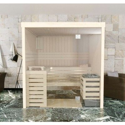 Afbeelding 2 van Azalp massieve sauna Rio Glass 173x173 cm, 39 mm