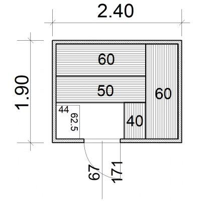 Afbeelding 2 van Azalp Massieve sauna Eva 240x190 cm, 45 mm