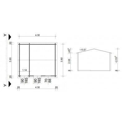 Bild 9 von Azalp Blockhaus Karlijn 450x400 cm, 45 mm