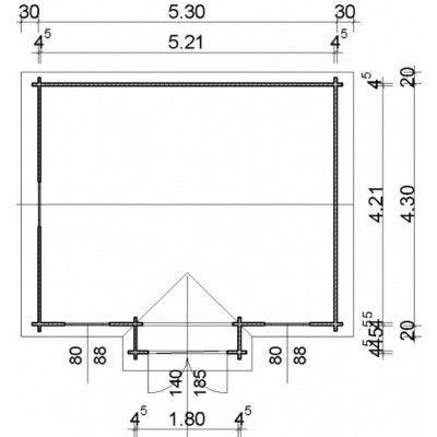Afbeelding 12 van Azalp Blokhut Essex 550x450 cm, 45 mm