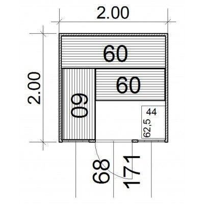 Afbeelding 4 van Azalp Massieve sauna Eva Optic 200x200 cm, 45 mm