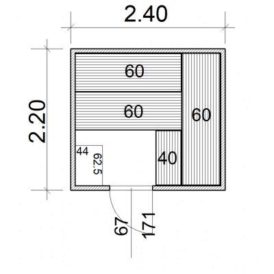 Afbeelding 2 van Azalp Massieve sauna Eva 240x220 cm, 45 mm