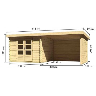 Afbeelding 3 van Woodfeeling Bastrup 5 met veranda 300 cm (73329)