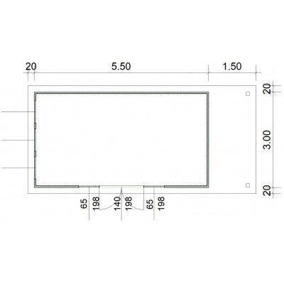 Afbeelding 3 van SmartShed Blokhut Isidro 550x300 cm, 45 mm