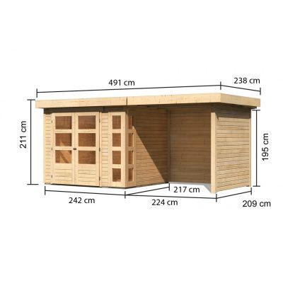 Afbeelding 2 van Woodfeeling Kerko 3 met veranda 240 cm (82934)
