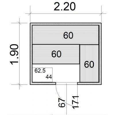 Afbeelding 2 van Azalp Massieve sauna Eva 220x190 cm, 45 mm