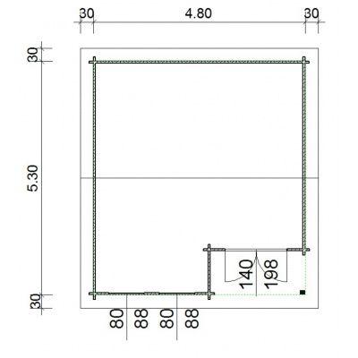 Bild 66 von Azalp Blockhaus Kinross 500x550 cm, 45 mm