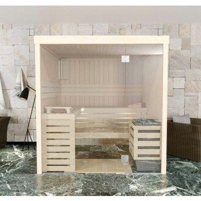 Afbeelding 2 van Azalp Massieve sauna Rio Glass 217x217 cm, 39 mm