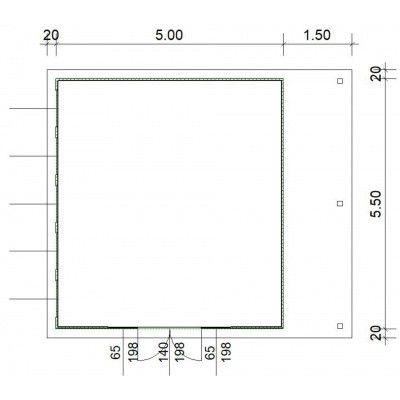 Afbeelding 3 van SmartShed Blokhut Isidro 500x550 cm, 45 mm