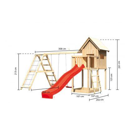 Afbeelding 2 van Akubi Speeltoren Frieda met glijbaan, dubbele schommel en klimgedeelte (91185)