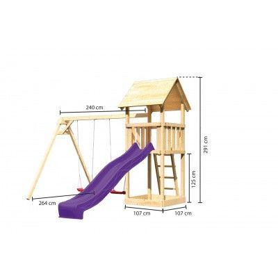 Afbeelding 2 van Akubi Speeltoren Lotti met glijbaan en dubbele schommel (89348)
