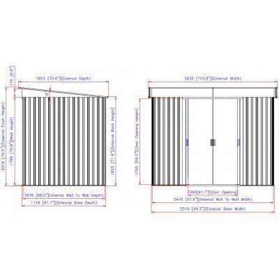 Afbeelding 2 van Duramax Metalen berging lessenaarsdak Pent 8x6, Houtdecor (O)