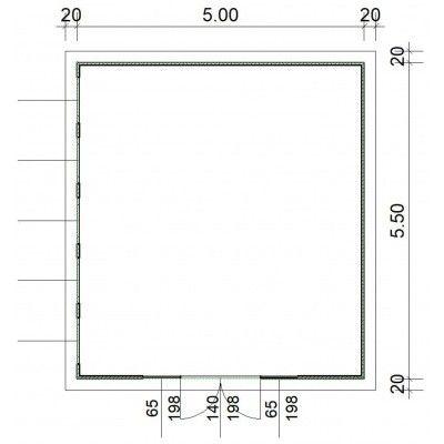 Afbeelding 2 van SmartShed Blokhut Zenon 500x550 cm, 30 mm