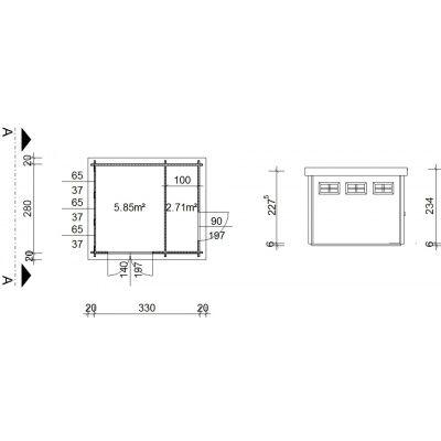 Bild 2 von Azalp Blockhaus Lars 350x300 cm, 30 mm