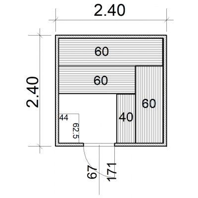 Afbeelding 2 van Azalp Massieve sauna Eva 240x240 cm, 45 mm