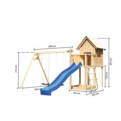 Afbeelding 2 van Akubi Speeltoren Frieda met glijbaan en dubbele schommel (91180)