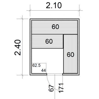 Afbeelding 2 van Azalp Massieve sauna Eva 210x240 cm, 45 mm