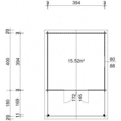 Afbeelding 18 van Azalp Blokhut Tim 400x400 cm, 30 mm