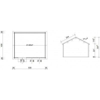 Bild 45 von Azalp Blockhaus Lynn 550x450 cm, 45 mm