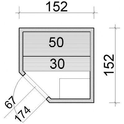 Afbeelding 2 van Azalp Elementhoeksauna 152x152 cm, espen