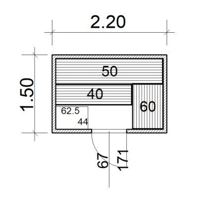 Afbeelding 2 van Azalp Massieve sauna Eva 220x150 cm, 45 mm